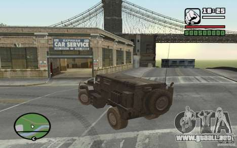 Camión militar para GTA San Andreas vista posterior izquierda