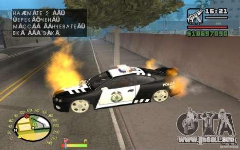 Coche en llamas en el GTA 4 para GTA San Andreas segunda pantalla