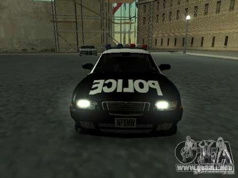 Police Civic Cruiser NFS MW para GTA San Andreas vista hacia atrás