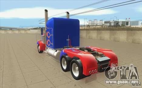 Peterbilt 379 Optimus Prime para GTA San Andreas vista posterior izquierda