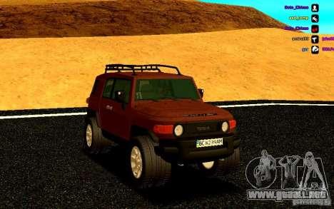Toyota FJ Cruiser para GTA San Andreas vista hacia atrás