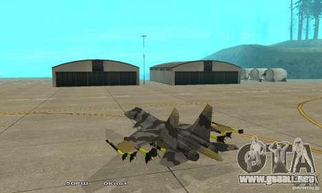 Su-37 Terminator para GTA San Andreas vista posterior izquierda