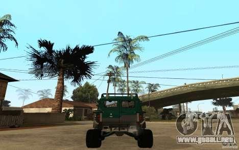 Pan UAZ duro todoterreno para GTA San Andreas vista posterior izquierda