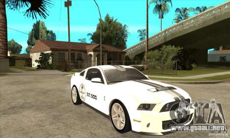 Ford Shelby GT 500 2010 para GTA San Andreas vista hacia atrás