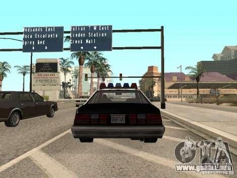 LVPD Police Car para GTA San Andreas vista posterior izquierda