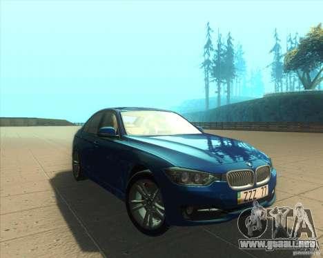 BMW 3 Series F30 2012 para GTA San Andreas vista hacia atrás
