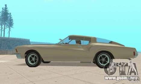Buick Riviera 1972 Boattail para GTA San Andreas vista posterior izquierda