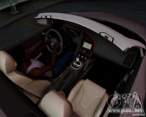 Audi R8 Spyder para visión interna GTA San Andreas