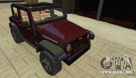 Jeep Wrangler Rubicon 2012 para GTA 4 vista lateral