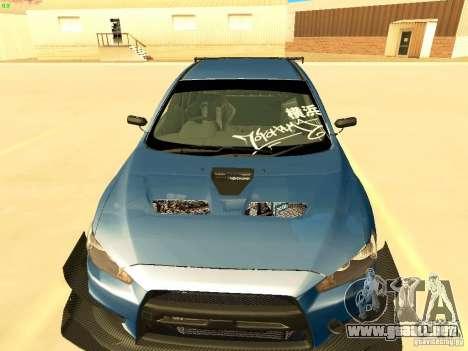 Mitsubishi Lancer Evolution X Time Attack para visión interna GTA San Andreas