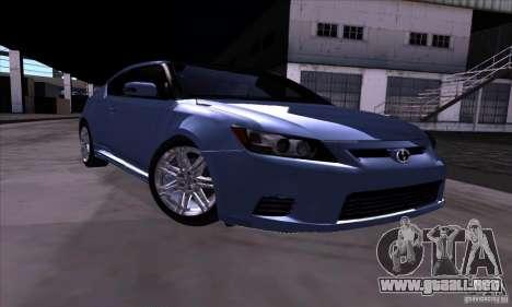 Scion Tc 2012 para GTA San Andreas vista hacia atrás