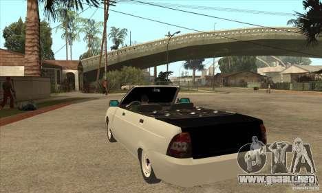 VAZ LADA Priora convertible para GTA San Andreas vista posterior izquierda