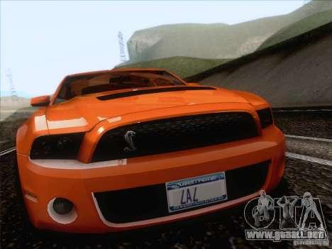 Ford Shelby Mustang GT500 2010 para GTA San Andreas vista hacia atrás