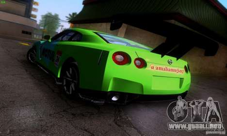 Nissan GTR R35 Tuneable para vista inferior GTA San Andreas