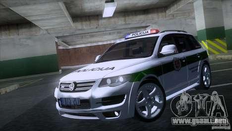 Volkswagen Touareg Policija para GTA San Andreas left