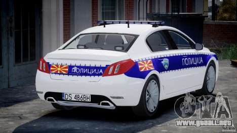 Peugeot 508 Macedonian Police [ELS] para GTA 4 Vista posterior izquierda