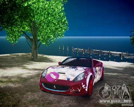 Ferrari California DC Texture para GTA 4 vista hacia atrás