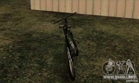 Bicicleta con Monster Energy para GTA San Andreas vista posterior izquierda