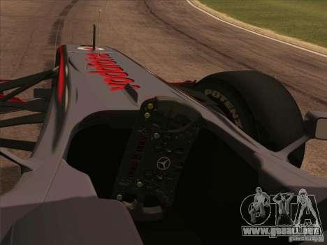McLaren MP4-25 F1 para la visión correcta GTA San Andreas
