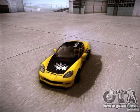 Chevrolet Corvette C6 super promotion para GTA San Andreas vista hacia atrás