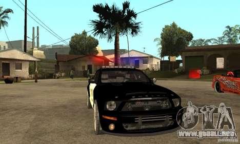 Shelby GT500KR Edition POLICE para GTA San Andreas vista hacia atrás