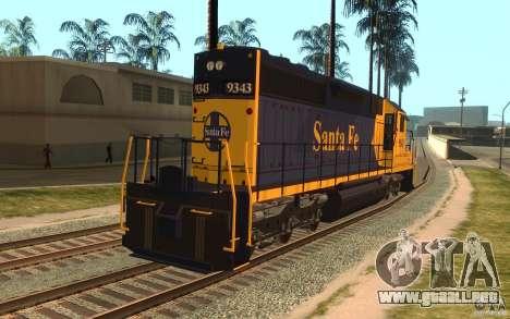 Locomotora SD 40 Santa Fe azul/amarillo para GTA San Andreas vista posterior izquierda