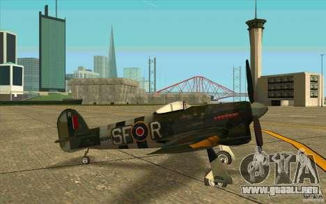 Hawker Typhoon para GTA San Andreas vista posterior izquierda