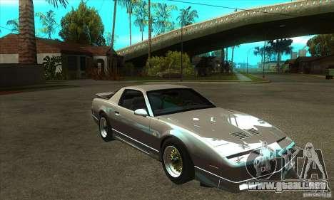 Pontiac Trans AM 1987 para GTA San Andreas vista hacia atrás