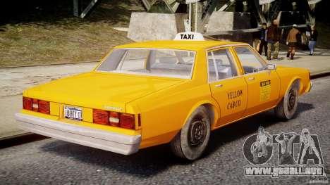 Chevrolet Impala Taxi v2.0 para GTA 4 vista superior