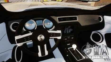 Ford Shelby GT500 2013 para GTA 4 vista hacia atrás