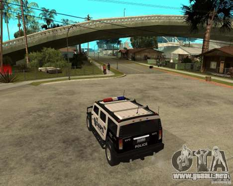 AMG H2 HUMMER SUV SAPD Police para GTA San Andreas vista posterior izquierda