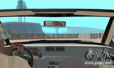 Chevrolet Camaro RS 1991 Convertible para visión interna GTA San Andreas