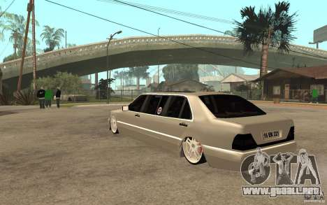 Mercedes-Benz S600 V12 W140 1998 VIP para GTA San Andreas vista posterior izquierda