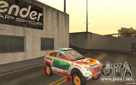 Mitsubishi Racing Lancer para GTA San Andreas vista hacia atrás
