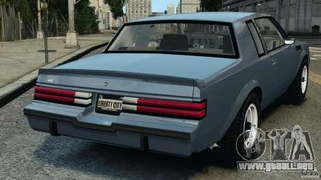 Buick GNX 1987 para GTA 4 Vista posterior izquierda