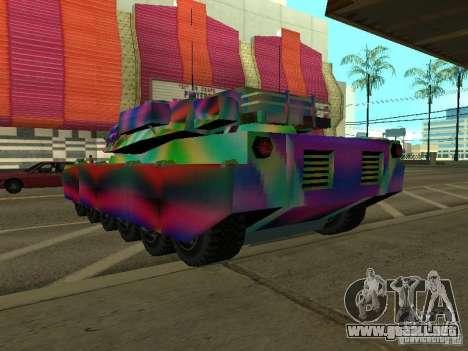 Un tanque de color alegre para GTA San Andreas vista posterior izquierda