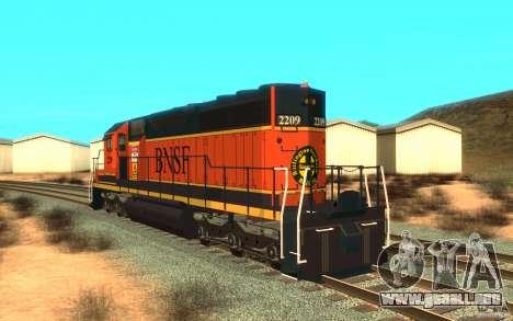 Locomotora SD 40 Unión Pacífico BNSF para GTA San Andreas vista posterior izquierda