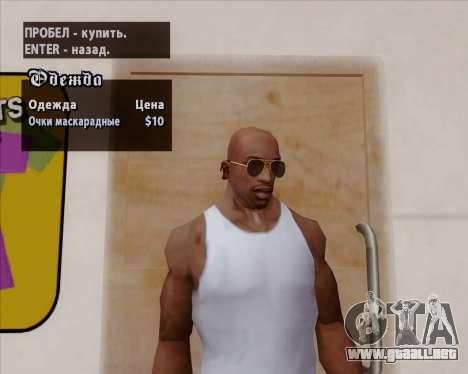 Gafas de sol Aviator Brown para GTA San Andreas quinta pantalla