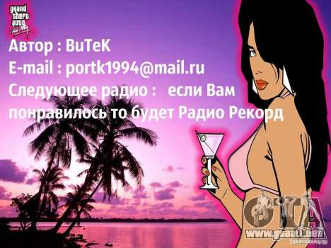 Radio popsa por BuTeK para GTA Vice City tercera pantalla