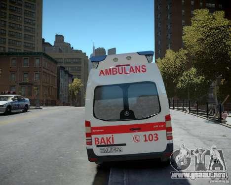 Mercedes-Benz Sprinter Azerbaijan Ambulance v0.2 para GTA 4 vista hacia atrás