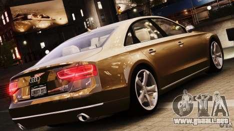 Audi A8 2010 V8 FSI para GTA 4 vista hacia atrás