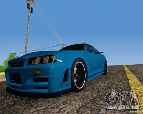 Nissan Skyline R34 Z-Tune V3 para la visión correcta GTA San Andreas