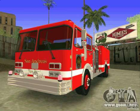 Pumper Firetruck Los Angeles Fire Dept para visión interna GTA San Andreas