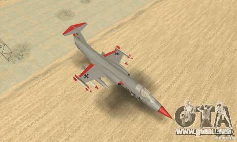 F-104 Starfighter Super (gris) para la visión correcta GTA San Andreas