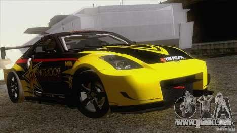 Nissan 350Z Rockstar para GTA San Andreas vista hacia atrás