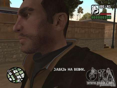 Niko Bellic para GTA San Andreas quinta pantalla