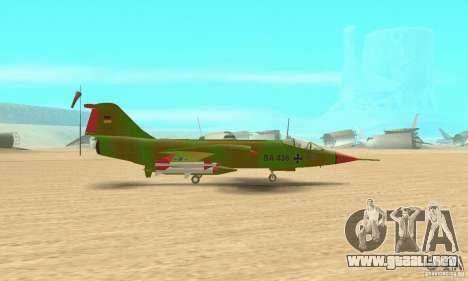 F-104 Starfighter Super (verde) para GTA San Andreas vista posterior izquierda
