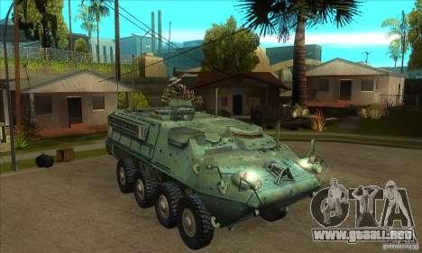 Stryker para GTA San Andreas vista hacia atrás