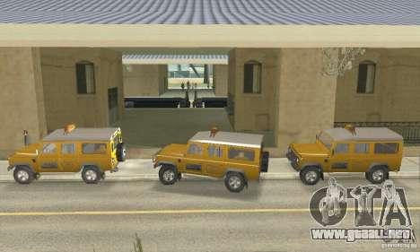 Land Rover Defender 110SW Taxi para GTA San Andreas vista posterior izquierda