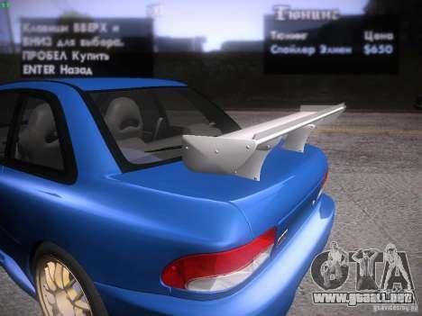Subaru Impreza 22b Tunable para GTA San Andreas interior